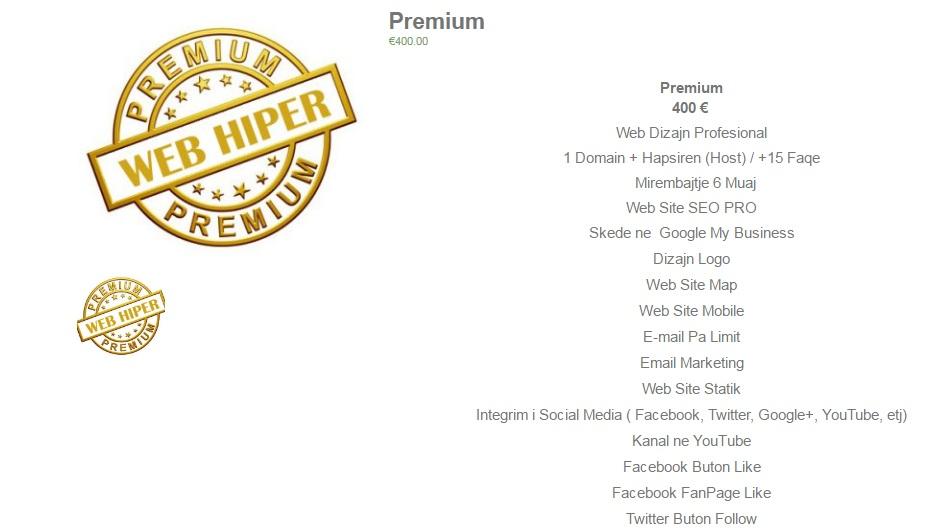 Premium 800 €  Web Dizajn Profesional