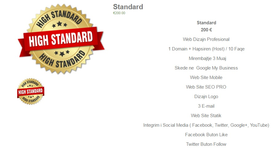 Standard 400 € Web Dizajn Profesional